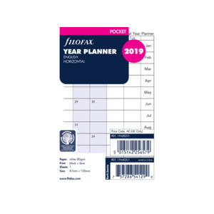 Filofax Year Planner Pocket Refill - English Horizontal 2019