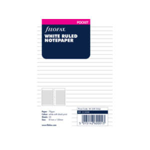 Filofax White Ruled Notepaper Inserts