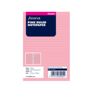 Filofax Pink Ruled Notepaper Inserts