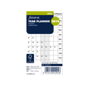 Filofax Year Planner Mini Refill - English Horizontal 2018