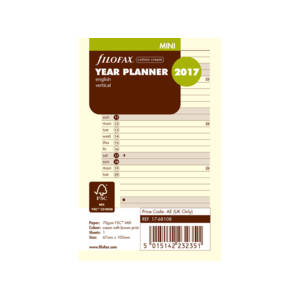 Filofax Year Planner Mini Refill - Cotton Cream English Vertical 2018