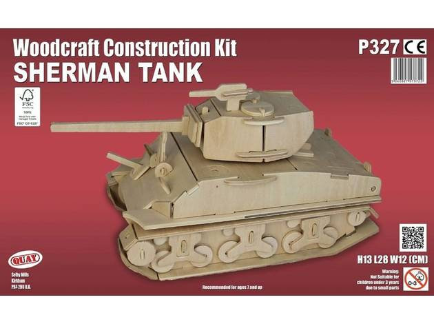 Quay Sherman Tank Woodcraft Construction Kit.